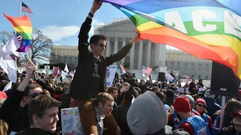 Gay Rights activists protesting outside of the Supreme Court.