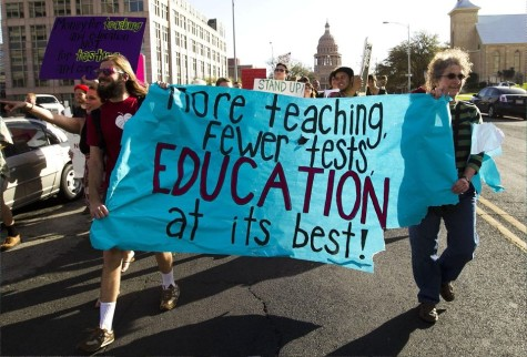 A Chicago protest vilifying the prevalence of standardized tests.