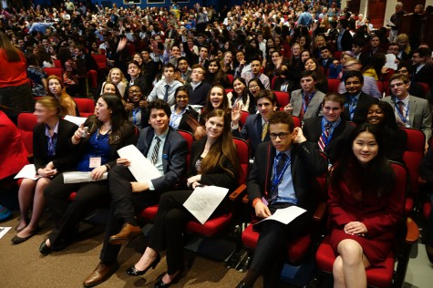 Ossining High School science research students take their seats at the 2016 WESEF award ceremony