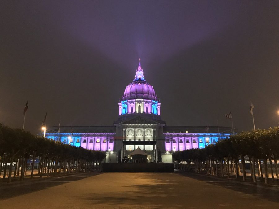 """City Hall in transgender flag colors"" by albedo20 is licensed with CC BY-NC-ND 2.0. To view a copy of this license, visit https://creativecommons.org/licenses/by-nc-nd/2.0/"